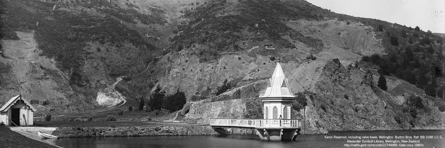Karori Reservoir, including valve tower, Wellington