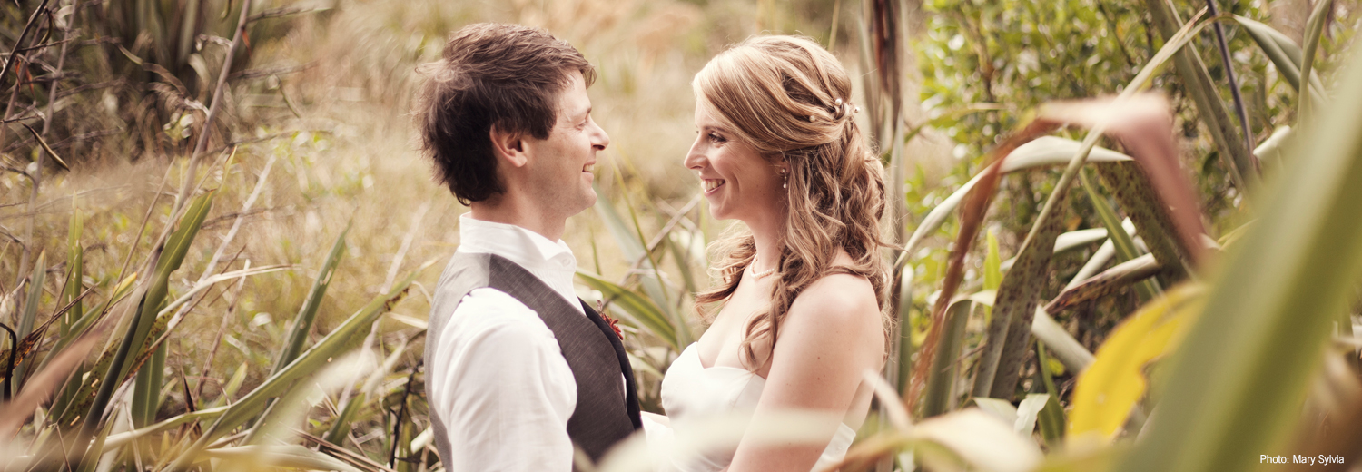 Wedding couple at ZEALANDIA